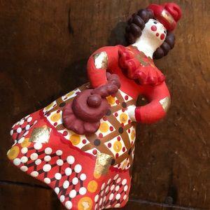 Ceramic Figurine Brunette Lady in a Red Gold Dress